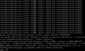 Log generado al producirse un pantallazo azul en ReactOS